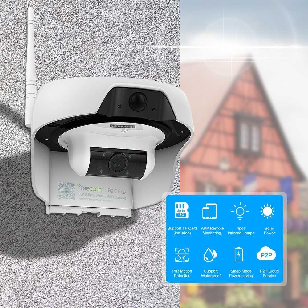 720P Solar Powered WiFi IP Camera Motion-Activated Security Camera Support  Cloud Storage Built-in 16GB SD Card Waterproof
