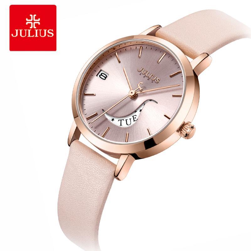 6b3293010017 Compre Julius Relojes Mujer Pulsera De Cuarzo Relojes Vestido De Cuero Para Mujer  Relojes De Pulsera Día Automático Fecha Reloj Femenino A  48.14 Del ...