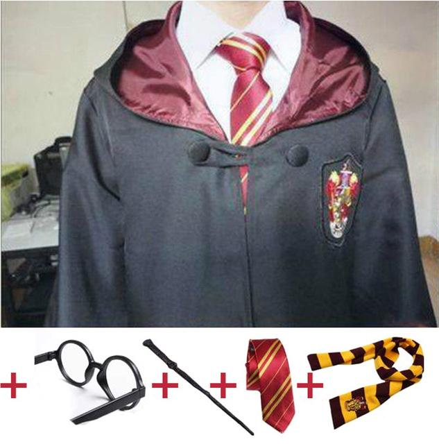 Accessories Cosplay Costumes Robe Cape with Tie Scarf Wand Glasses Ravenclaw Gryffindor Hufflepuff Slytherin Hermione Costumes for Harri ...
