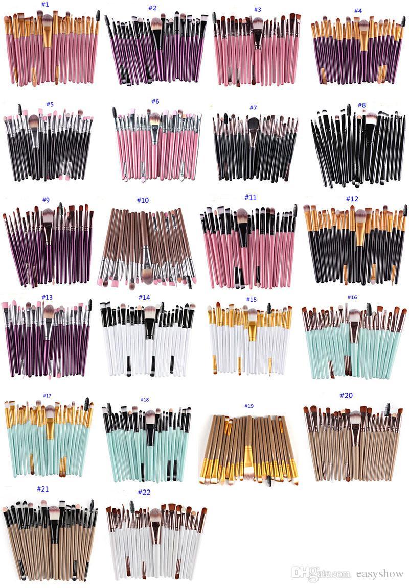 20 개 화장품 메이크업 브러쉬 세트 파우더 파운데이션 아이 섀도우 아이 라이너 립 브러쉬 도구 브랜드 브러쉬 아름다움 도구 pincel 드레싱 테이블에