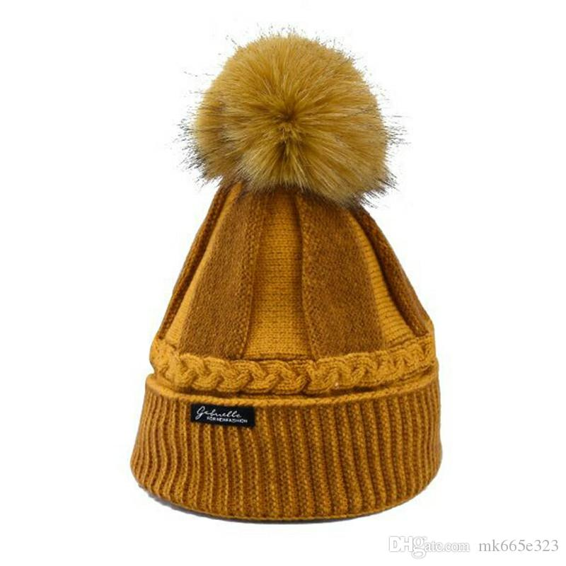 2019 Ladies Beanie Hat Ball Knit Bucket Hat Comfortable Knitted Elasticity  Ribbed Thick Warm Six Colors Girls Hats From Mk665e323 5103df30359