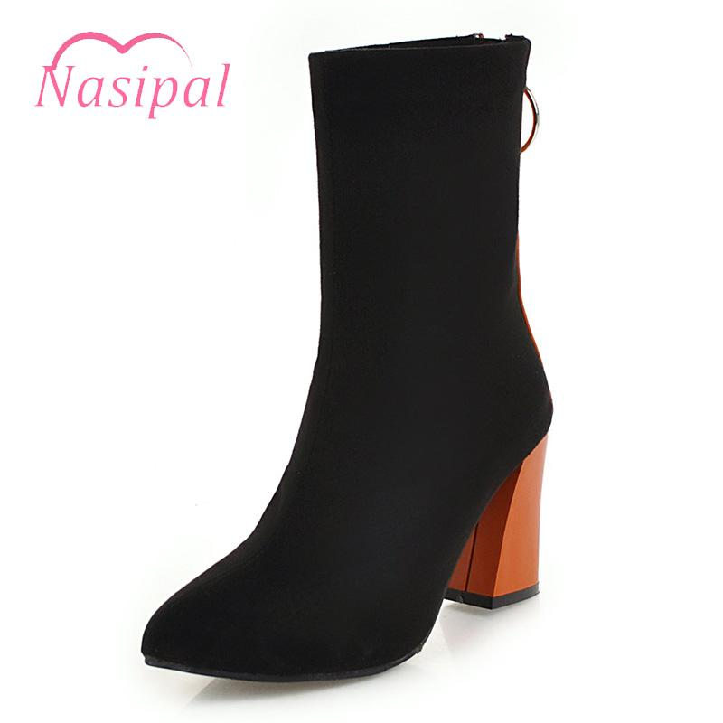 online store c27e1 89e58 Nasipal Stiefeletten Damen Schuhe Dicke High Heels Spitzschuh Stiefeletten  Schwarz Rot Gelb Damenschuhe Große Größe 30-50 Botas