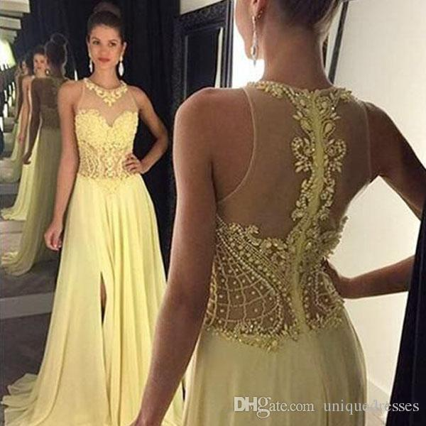 Sexy Illusion Prom Dresses 2018 Jewel Neck Sleeveless Beaded Crystals A Line  Split Evening Gowns Light Yellow Chiffon Party Dress Cute Cheap Prom Dresses  ... ee7c3d8f5