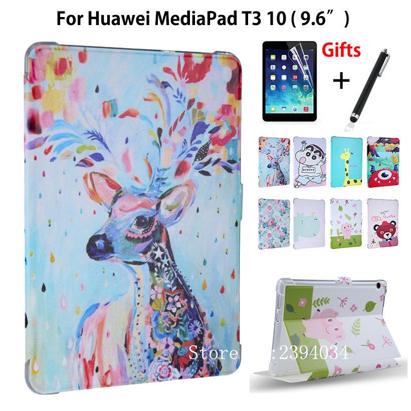 watch 7ea9b b671b Case For Huawei MediaPad T3 10 AGS-L09 AGS-L03 9.6 inch Smart Cover Funda  Cartoon PU for Honor Play Pad 2 9.6 Cover Film Pen