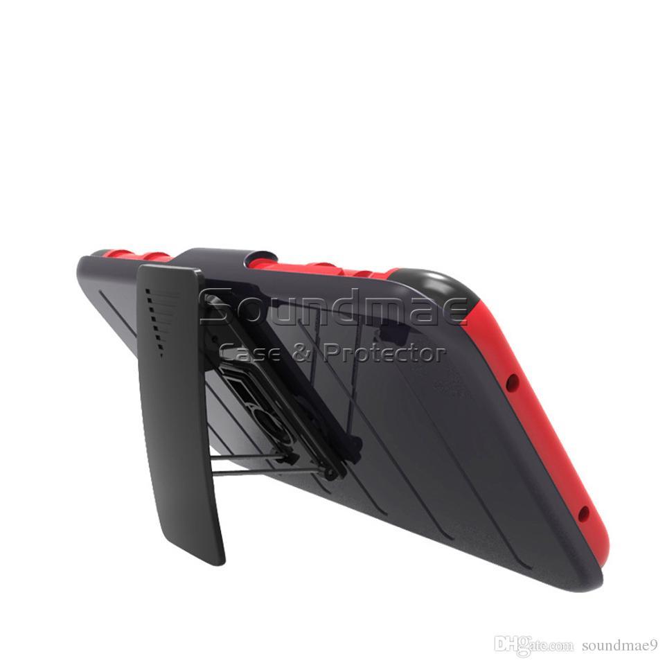 Zırh Hibrid Vaka 3 in 1 Combo Kılıf Kemer Klipsi Koruyucu Defender Kickstand Telefon Kapak iphone X 8 7 Artı Samsung Not 8 S8 OPP TORBA