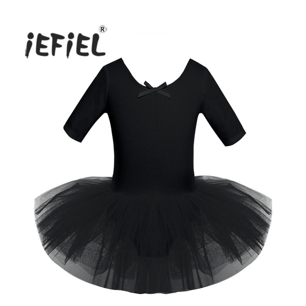 55978ac336 Compre 4 Cor Adolescente Criança De Manga Curta De Algodão Ballet Tutu  Crianças Trajes De Ginástica Collant Para Meninas Dança De Classe Bailarina  Dress De ...