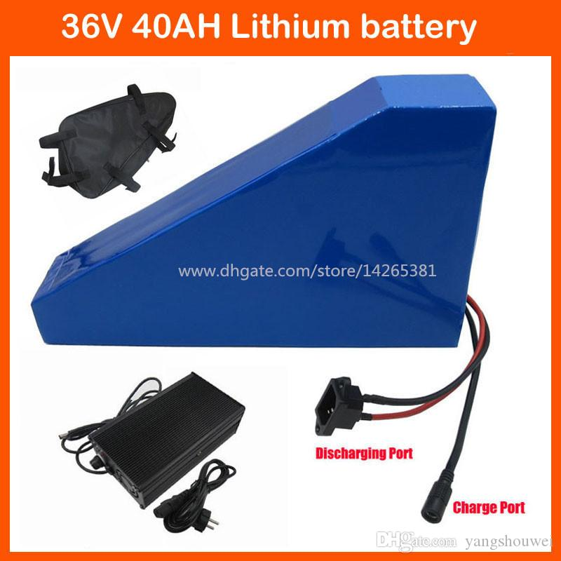 36V 1500W Triangle battery 36V 40AH Electric Bike 36V Lithium ion battery pack with bag Use 3000mah 30B cell 42V 5A charger