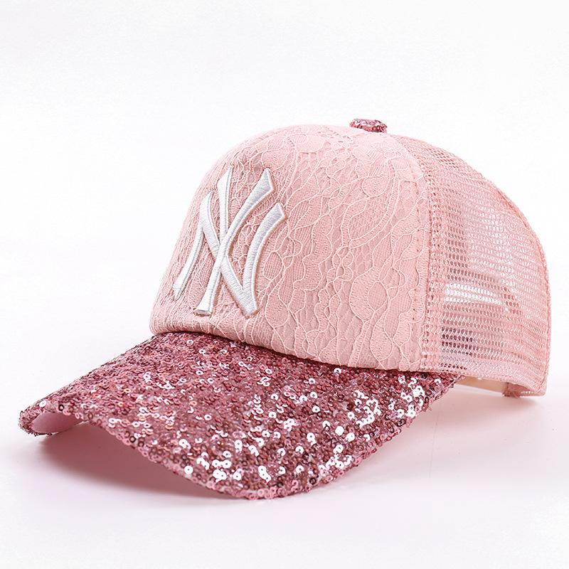 b7c41a400c0 Baseball Cap NY Embroidery Sequin Letter Sun Hats Adjustable Lace Snapback  Hip Hop Dance Hat Summer Outdoor Men Women NY Snapback Caps Summer Baseball  Hats ...