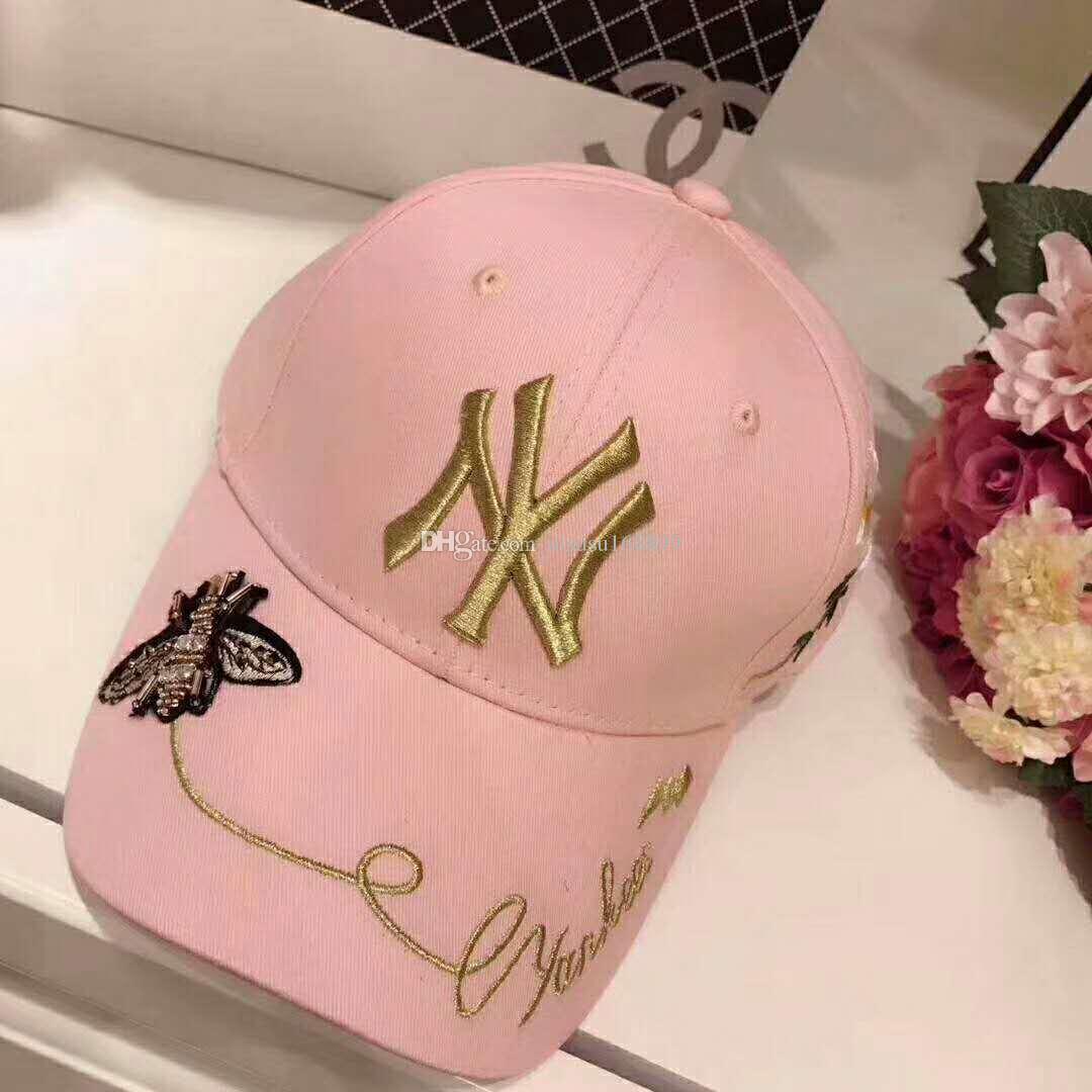 5c4fe2f78 Authentic MLB bee cone chrysanthemum embroidery NY baseball cap sun hat  duck tongue cap sunblock cap