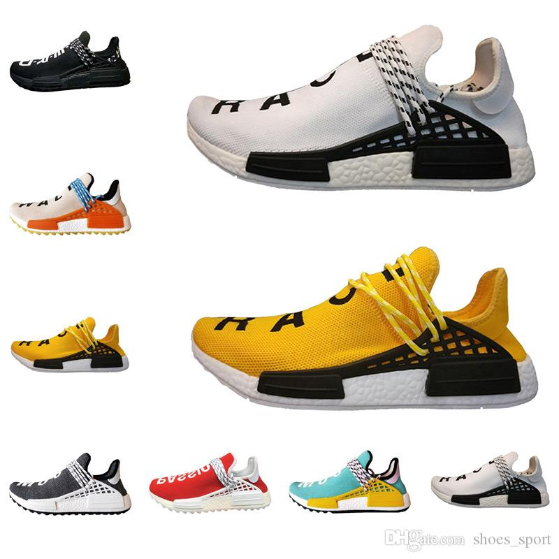 bed07a67b684 2018 New Human Race Trail Running Shoes Men Women Pharrell Williams Running  Shoes Yellow Noble Ink Core Black White Red 36 46 Shoe Shopping Trainers  Shoes ...