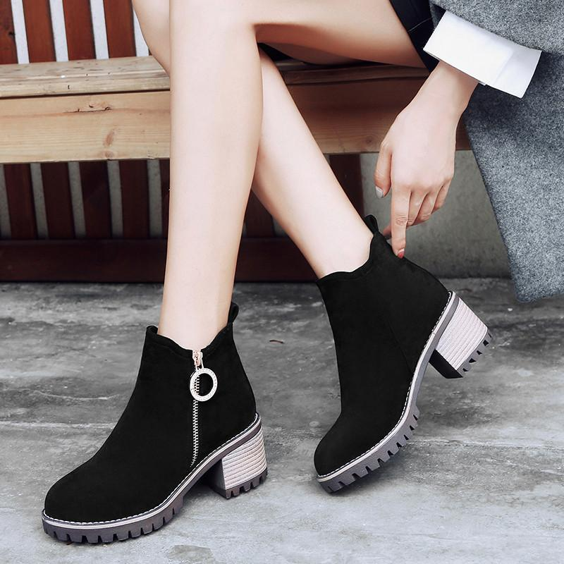 05916dd5f81cd YMECHIC Army Green Black Womens Boots Ankle Flock Block Heel Shoes Plus  Size Zipper Metal Design Winter Ladies High Heel Boots Desert Boots Wellies  From ...