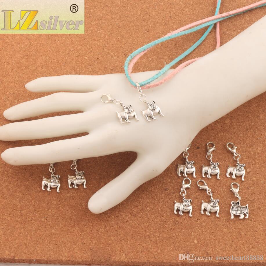 100 unids / lote Inglés Bulldog Broche Clip de la Langosta Europea Clip en Charm Beads MIC 13x31mm Plata Antigua C108