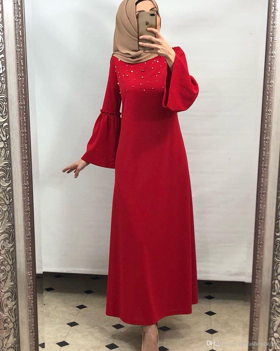 Großhandel Muslimische Frauen Aufflackern Hülsen Kaftan Kleid S 2xl ...