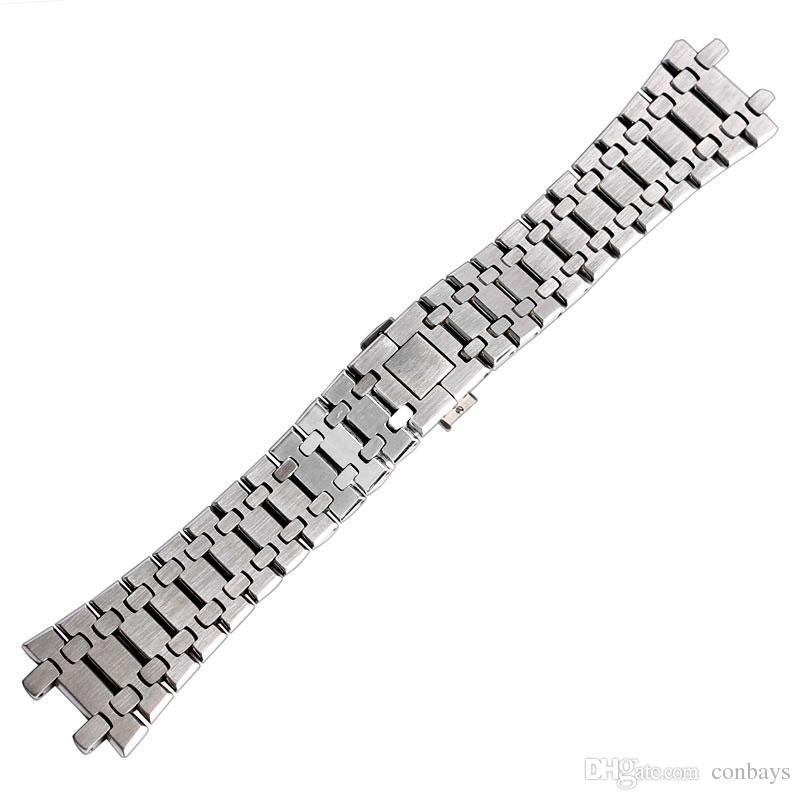 Di alta qualità 28 millimetri di larghezza argento cinturino in acciaio inossidabile di ricambio orologi AP Bracciale farfalla chiusura cinghie solide