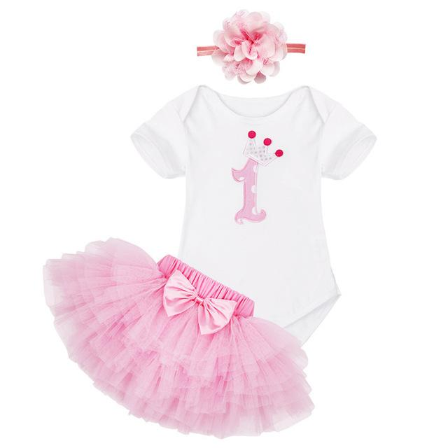 2019 1st First Birthday Baby Girl Party Outfit Summer Clothing Sets Top T Shirt Cake Tutu Skirt Hairband Children Clothes Pink From Okbrand 331