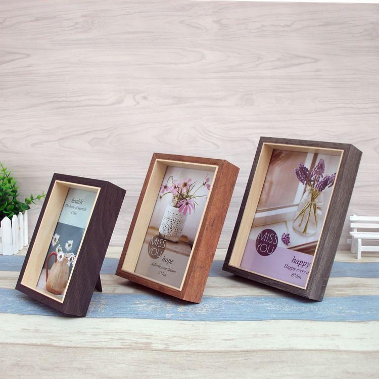 Vintage Photo Frame Square Wood Frame Wooden Crafts Desk Decor ...