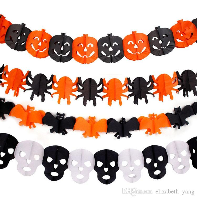 The new Paper Chain Garland Party Banner Event Decorations Pumpkin Bat Ghost Spider Skull Shape Halloween Banners Decor Garland