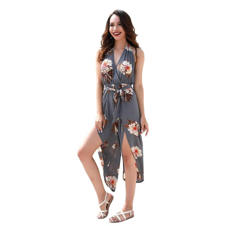 Europe and the United States fashion summer sexy flower jumpsuit women, Printed halter V-neck tether jumpsuit pants.