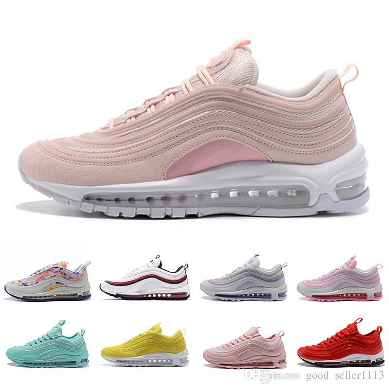 Купить Оптом Nike Air Max 97 Running Shoes Воздух Новейшие 97 X Maxes  Undftd Женщины Беговые Туфли 97s Тройной Белый Черный Южный Пляж Персидский  Фиолетовый ... f59b125032d