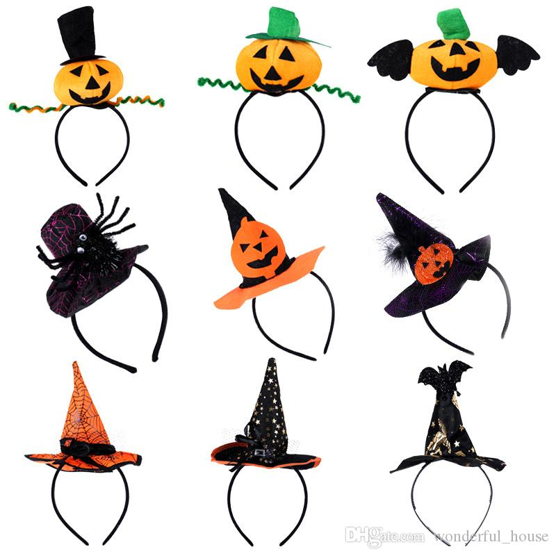 Acquista Halloween Headband Pumpkin Hat Spider Wizard Hat 13 Disegni ... 1e99ba70e4eb