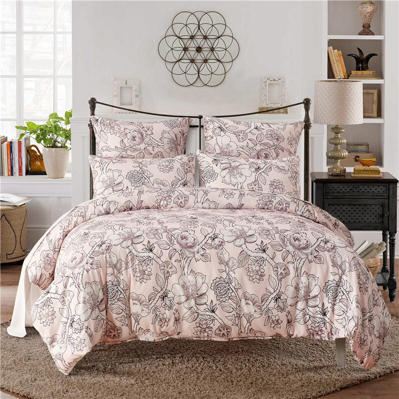 Pale Pink Print Polyester Fiber Pillowcase And Duvet Cover Sets 2