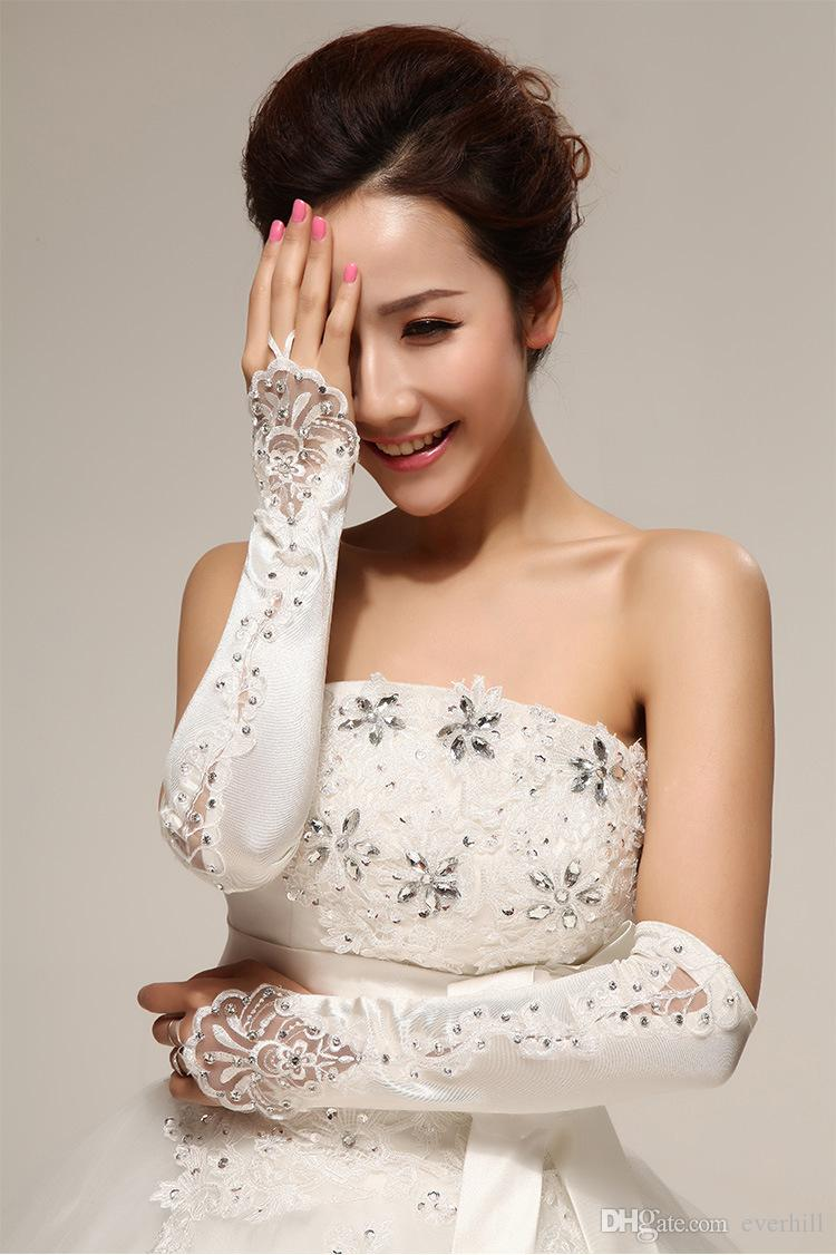 Jane Vini Marfim Longo Dedo Luva De Noiva De Luxo Frisado Anel Noiva Luvas de Cetim de Renda Acima Do Cotovelo Comprimento Luvas de Casamento Gótico Acessórios