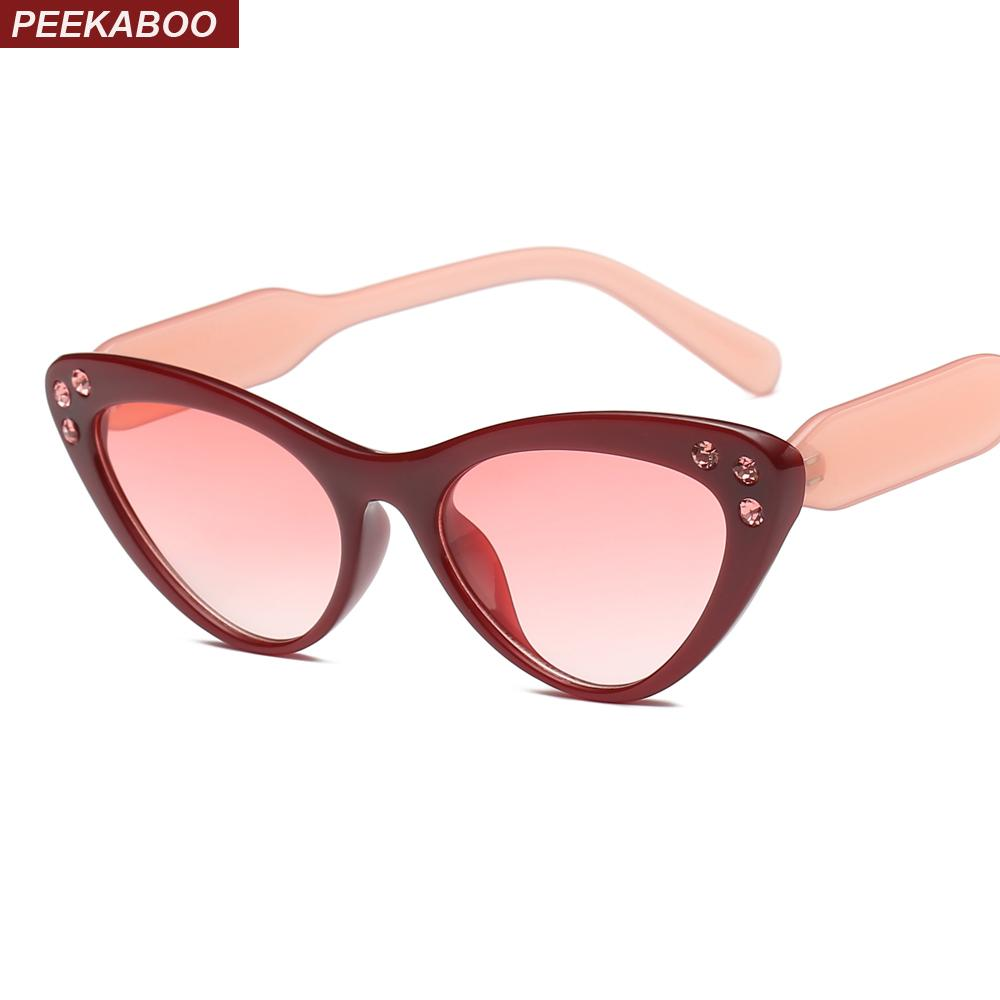 b6522925ccd Peekaboo Black Cat Eye Sunglasses Women With Rhinestones Party Gift Female Sun  Glasses For Women 2019 Uv400 Best Sunglasses For Men Vuarnet Sunglasses  From ...