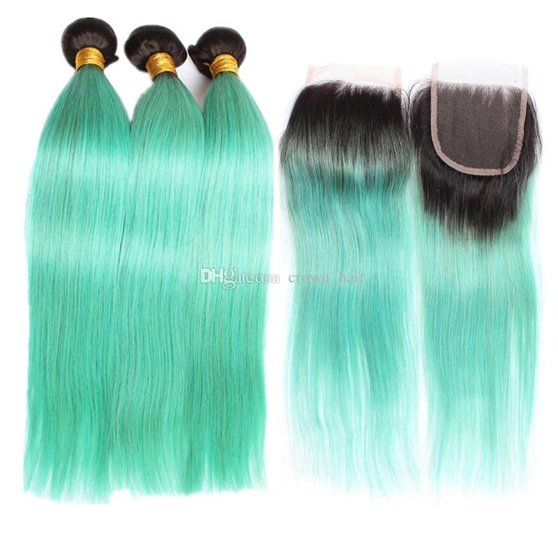 Silky Straight 1B Green Hair Bundles With Lace Closure Brazilian Ombre dark green Human Hair Weft 3Pcs With Top Lace Closure 4pcs lot
