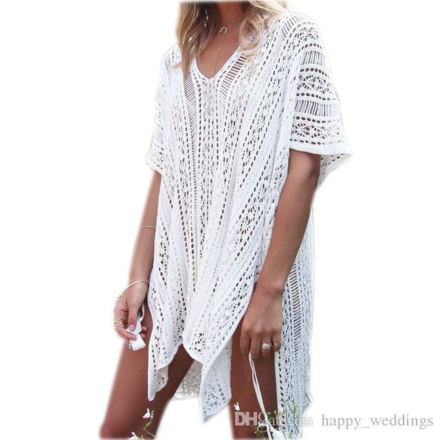 c5cf22c49f324 2019 2018 New Arrivals Sexy Beach Cover Up White Crochet Robe De Plage Pareos  For Women Swim Wear Saida De Praia Beachwear Coverups From Happy_weddings,  ...