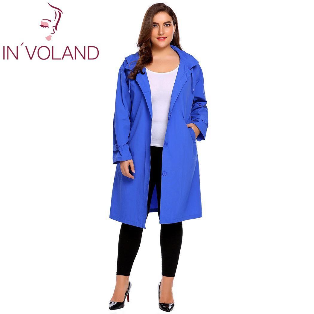 IN'VOLAND Women's Trench Coat Plus Size XL-5XL Hoodie Windbreaker Solid Pockets Button Lightweight Raincoat Overcoat Big Size