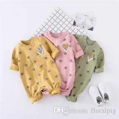 82fdb9f9ea3 High Quality Newborn Baby Cute Hedgehog Print Romper Long Sleeve ...