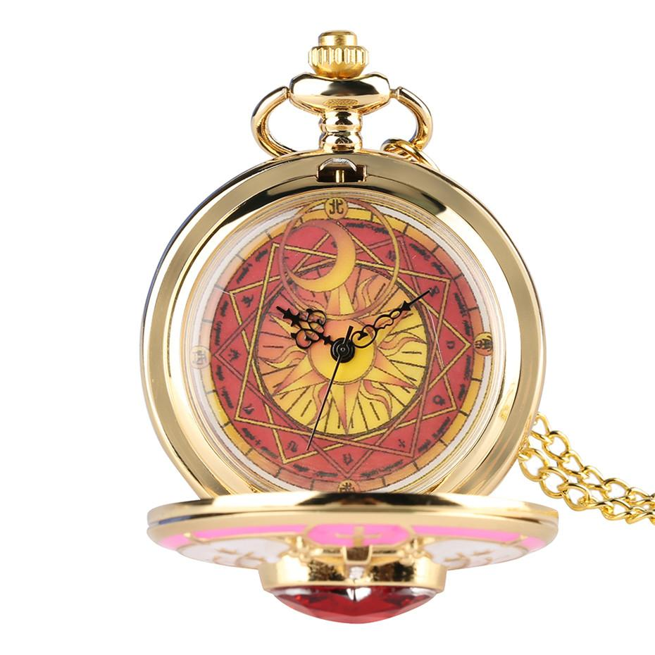 Golden Magic Sakura Pendant Pocket Watch For Girls Classic Anime Necklace Clock Gifts For Students Woman Gift Watch Pocket & Fob Watches