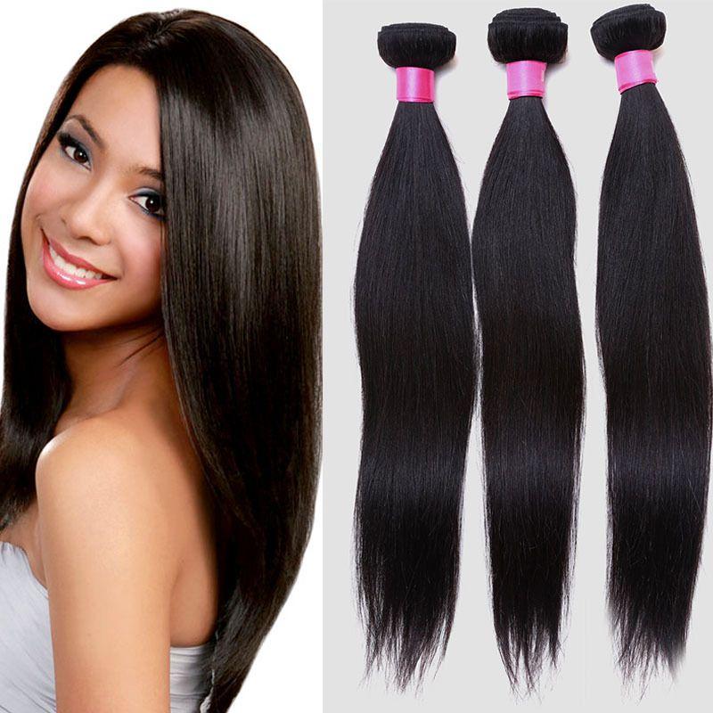 3 Bundles Human Hair Weaves Peruvian Virgin Hair Weft Extensions Straight  1B  Black Women Popular Wholesale Best Weave Best Human Hair Weaves From ... ff6e148087