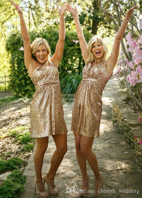 Rose Gold Bridesmaid Dresses Short Honor Of Maid Formal Gowns For Summer Wedding Guest One Shoulder Backless Sequins Cocktail Dress 2017