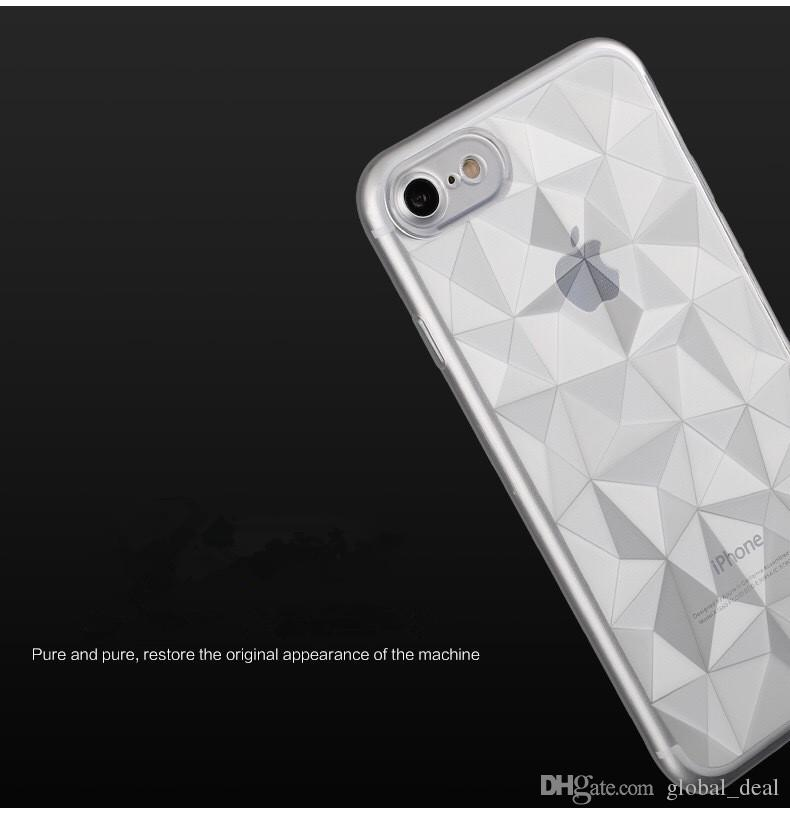 Flexible TPU Case 3D Diamond Design Micro Cushion Protection Transparent Back Cover for For iPhone X 7 8 Plus