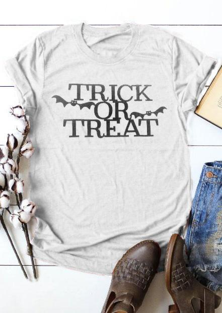 64cc13f53 Women's Tee Trick Or Treat Bat Short Sleeve T-shirt Women Funny Graphic  Tshirt Fashion Clothes Tees Tops Halloween T Shirt