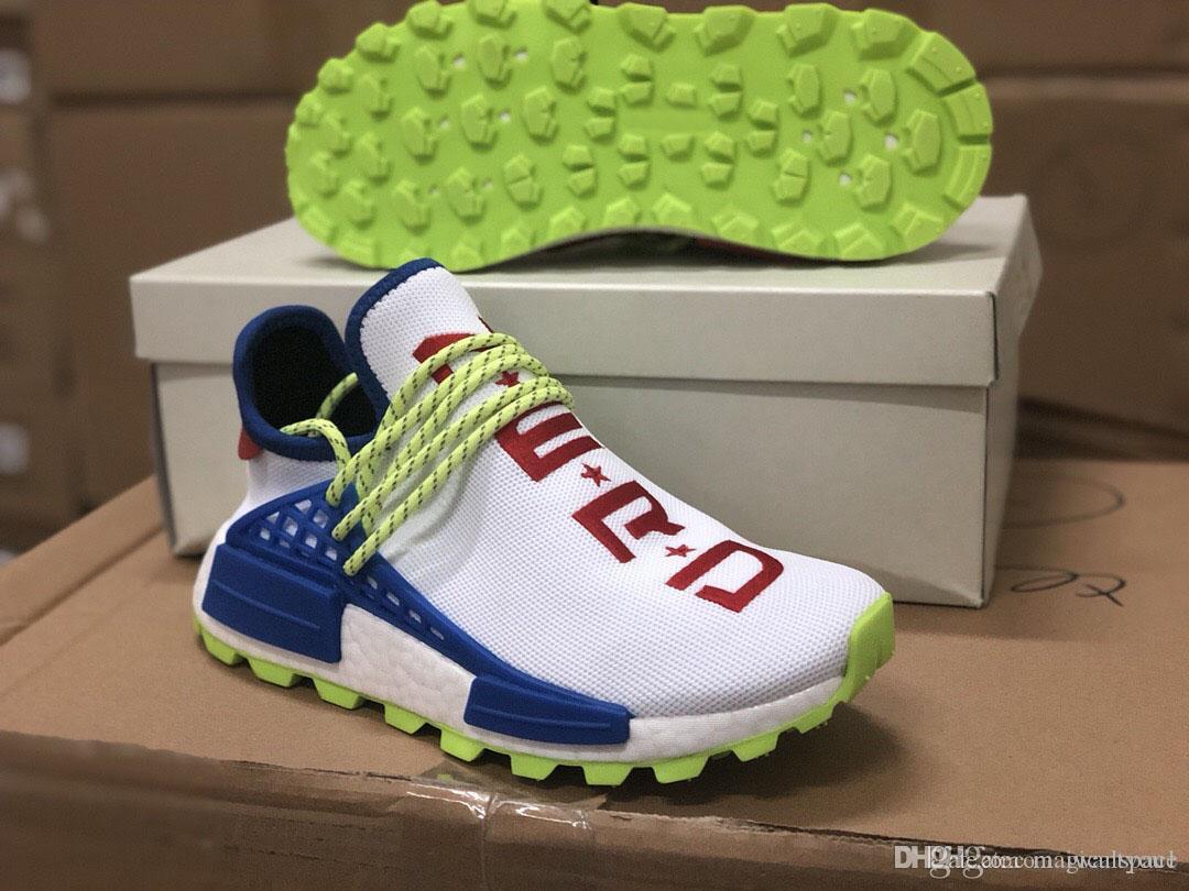 01730e0fdcb00 Pharrell Williams Originales PW HU NMD NERD CREME Blanco Azul Rojo Hombres  Mujeres Zapatillas Authentic Sneakers Deportes Con Caja EE6283 Tamaño 36 45  Por ...