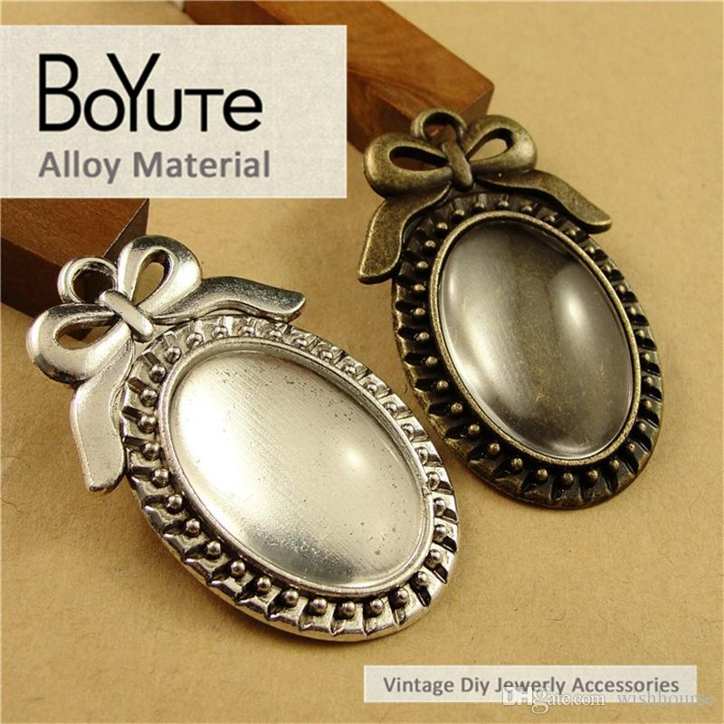 BoYuTe  25*18MM Antique Bronze Silver Plated Filigree Bowknot Cameo Cabochon Base Setting Pendant Jewelry Blank Accessories