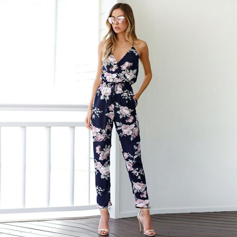 Lanxirui 2018 Elegant Women Jumpsuit Sleeveless V -Neck Floral Printed Playsuit Party Trousers Hot Sale plus size 5XL