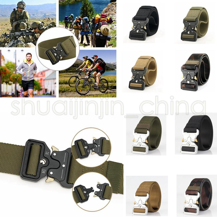 8 colors Quick Release Buckle Belt Quick Dry Safety Belt Training Pure Nylon Duty Out Tactical Belt GGA494 20PCS