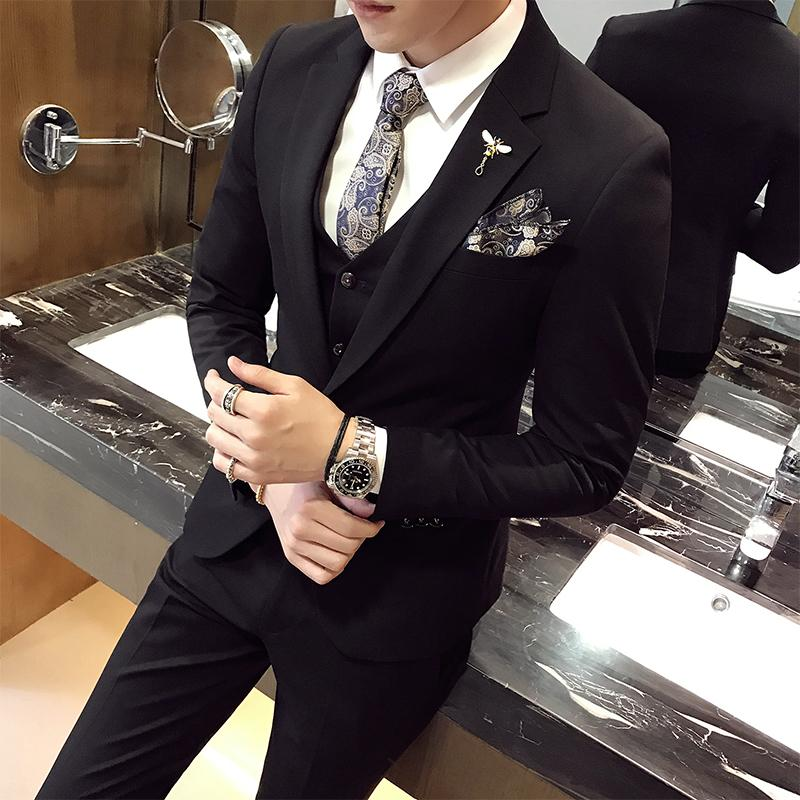 Acquista Marchio Abiti Uomo 2017 Uomo Abiti Da Lavoro Lo Sposo Da Sposa 3  Pezzi Slim Fit Maschio Tuxedo Jacket Dress Pants Jacket + Pants + Vest A   250.8 ... 920dfb39496