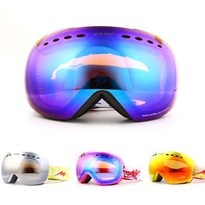 Large Mirror Men or Women Genuine double anti-fog skiing Goggles UV graced spherical Snowboarding eyewear Snow glasses and Box