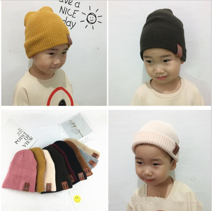 Baby Hats Knitted Children Autumn Winter Parent-child Hat Beanies warm hat for children Winter Best Gifts 9 color KKA5782