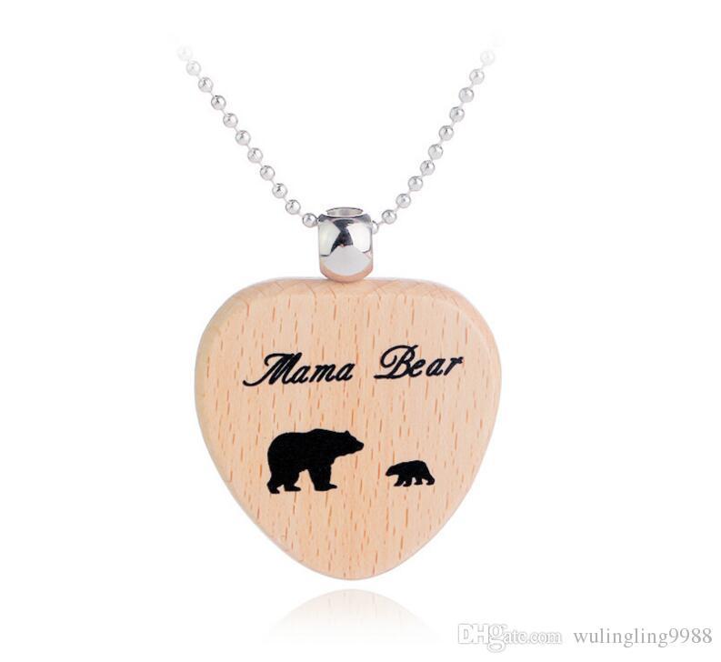 ماما الدب الخشب المفاتيح قلادة ماما الدب القلب مفتاح خواتم الأم وابنتها الدببة الأشبال القلب سحر ماما الدب خشبية القلائد 60 قطع