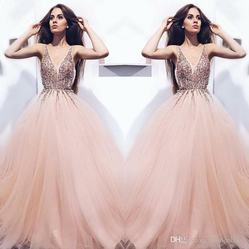 9870fae4 Hot Sale Admirable Prom Dresses A Line Tulle V Neck Sequins Beads Long Prom  Dress Glamorous Sexy Fluffy TuTu Evening Dresses Chinese Prom Dresses City  ...