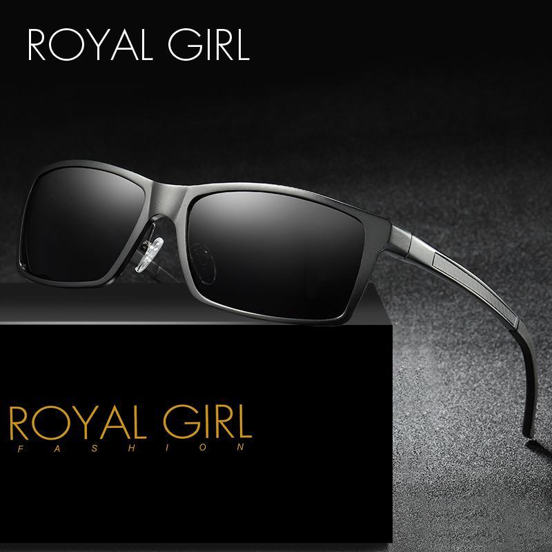 7f6519379 Compre ROYAL GIRL Polarizada Óculos De Sol Dos Homens 2018 Marca Designer  Clássico Óculos De Sol Masculino Preto Marrom Condução Revestimento Oculos  UV400 ...