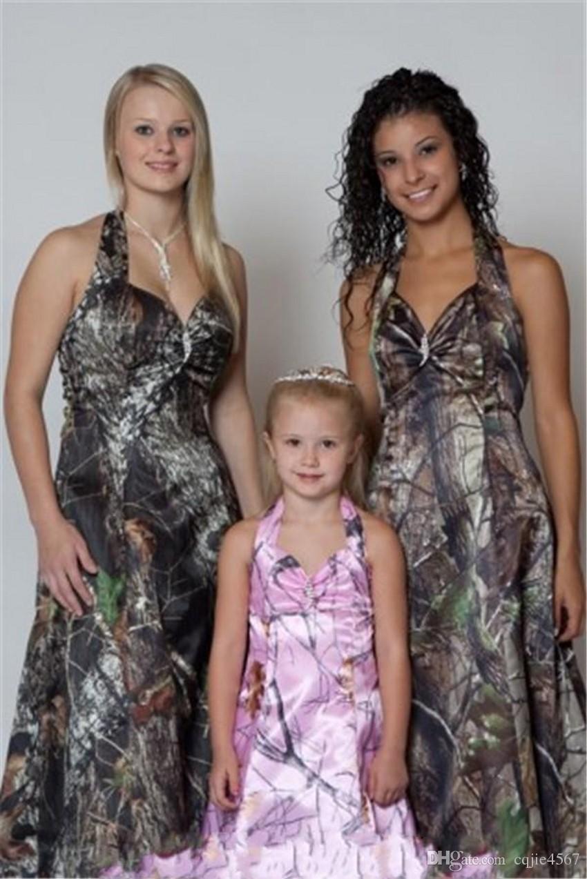 2018 Camo Brautjungfer Kleider Halter Customized Sleeveless Abendkleider Vintage Wald Formale Bodenlangen Brides Maid Kleid Für Frauen 558