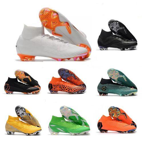 3a7b1a91d Mercurial Superfly VI 360 Elite FG TF IC IN KJ 6 XII 12 CR7 Ronaldo Neymar  Mens Women Boys High Soccer Shoes 20th Football Boots Cleats