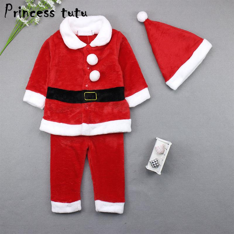 0-3 Years Baby Girl Boy Clothes Christmas Costume Coat Trouser Set Unisex Baby Clothing Santa Claus Kids Clothes Infantil kn006