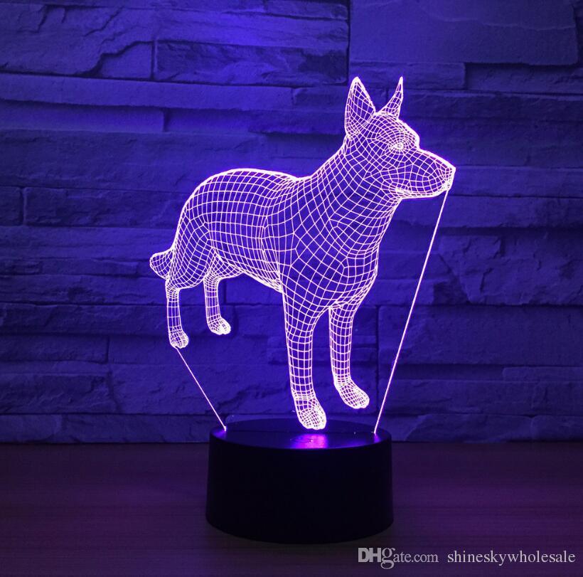 Regalo para niños 3D perros lindos en forma de luz de noche LED es acrílico lámpara de mesa mesita de noche luz de noche de luna